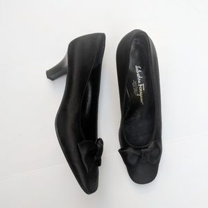 Salvatore Ferragamo Black Satin Bow Heels